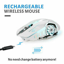 Wireless USB 2.4GHz Laptop Mouse LED Backlit Rechargeable Optical Gaming White
