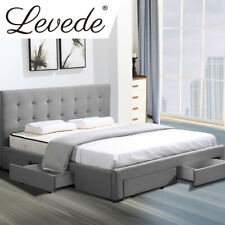 Levede Bed Frame Queen Fabric With Drawers Storage Wooden Mattress Grey