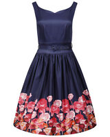 Navy 'Delta' Dress 8-16sz Lindy Bop Flower Border Floral Pinup