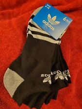 Adidas socks 6 pairs low cut black with white stripes,  large