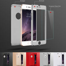 Front back hard cover 360 degree tempered glass case for iphone 6 6s 4.7 plus