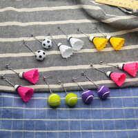 Novelty Badminton Tennis Football Sport Drop Dangle Pendant Ear Stud Earrings