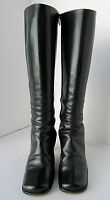 """ITALY KENNETH COLE WOMENS US 6 EU 36.5 BLACK CALF SKIN LEATHER BOOTS 17.5"""" TALL"""