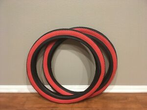 "Two (2) Vee Rubber Bicycle Tires 20"" x 1.95"" V186 Red Shoulder BMX Bike Tires"