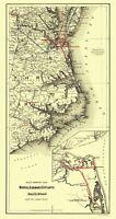 Norfolk Albemarle Atlantic Railroad Connections - Colton 1891 - 23.00 x 43.30
