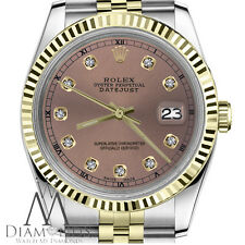Men's Rolex 36mm Datejust 2 Tone Salmon Color Dial with Diamond Accent RT