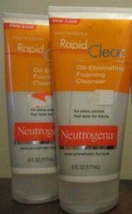 2x Neutrogena Rapid Clear Oil Eliminating Foaming Cleanser 6oz Acne Prone Skin