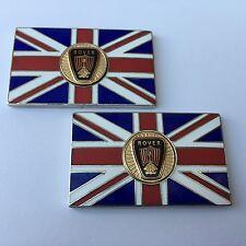 Pair of ROVER Union Jack GB Brass Enamel Classic Car Badges - Self Adhesive