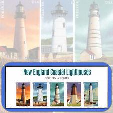 2013  NEW ENGLAND COASTAL LIGHTHOUSES Header Strip of 5 Forever® # 4791-95 4795a