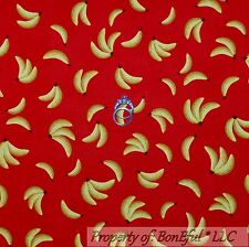 BonEful FABRIC FQ Cotton Quilt Red Yellow Sock Monkey Banana S Calico Fruit Food