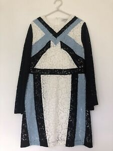 MORGAN LACE PANEL DRESS/ WHITE, BLACK & BLUE/ SIZE MEDIUM, 10-12/ WORN ONCE