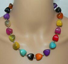 Halskette Kette Perlen Pyramide Hochglanz bunt mehrfarbig gekettelt  442x