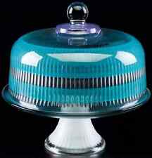 Turquoise Glass Cake Pie Plate & Round Dome Cover, Stand Lid Display Convertible