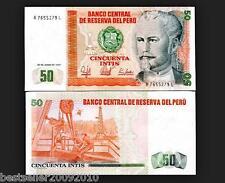 PERU 50 INTIS AUNC NOTE GOING CHEAP # 178