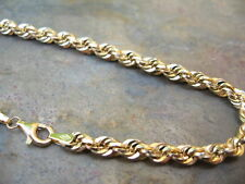 """10KT Yellow Gold Polished Rope Chain Bracelet  NEW.......... 4 mm 8"""" Length"""