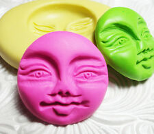 "1"" Silicone Resin Clay Fondant Flexible Polymer FIMO Push Mold MOON FACE"