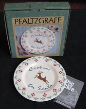 "Pfaltzgraff Cookies For Santa Nordic Christmas Plate 9"" Reindeer Holiday"