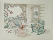 The Porch Swing Counted Cross Stitch  Paula Vaughan Completed Leisure Arts 12X9