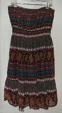 Freckles - Aztec Paisley Strapless / Halter Sun Dress / Brown Pink Blue - Size S