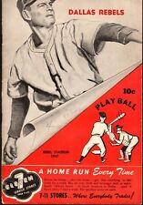 RARE 1947 DALLAS REBELS vs FORT WORTH CATS Baseball Program/Scorecard