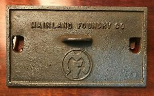 Vintage Cast Iron Stove or Furnace Door Cover Manu. by Mainland Foundry Co.