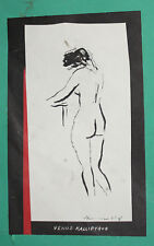 Vintage ink painting expressionist nude woman portrait signed