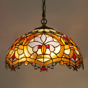 """Tiffany Dragon Tail Red Baroque Dia 12""""  16"""" Handmade Stained Glass Pendant Lamp"""