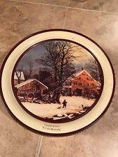 "Currier and Ives ""A Cold Morning"" - 10"" Tin Schwan's Christmas 1991 Winter"
