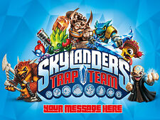 SKYLANDERS TRAP TEAM PERSONALISED EDIBLE CUSTOM CAKE DECORATION TOPPER IMAGE
