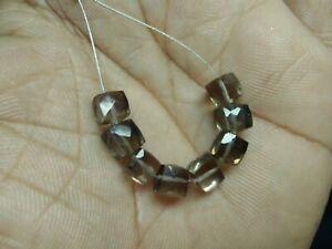 Quartz Stone 7-8mm Brown Rutilated Quartz Faceted 3D Cube Shape Briolettes Loose Beads 8inch strand