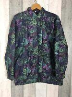 Vintage Harglenis Purple Floral Padded/Quilted Bomber Jacket Size UK 14
