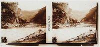 Gorges Tarn Francia Placca Lente Stereo 6x13cm Vintage
