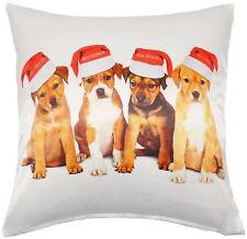 FUNKY Navidad Cachorro Perro Blanco Brillante Marrón Funda de cojín 43.2cm
