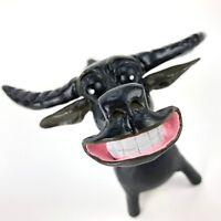 Outsider Art Handmade Pen Holder Clay Sculpture Bull Folk Naïve Anthropomorphic