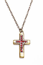 DARK GOLD METAL NECKLACE WITH PINKY RED BEAD ENCRUSTED CROSS, ADJUSTS 6CM (ZX46)