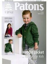 Patons 3911 Boys Girls Diploma Gold DK Pattern Boys Hoodie Jacket Skill Easy