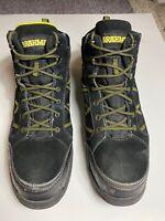 BRAHMA Men's Work Boots Black Yellow Steel Toe, Waterproof Slip Resistant Sz 12