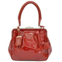 Authentic Prada Patent Leather Satchel Hand Bag Red Silver Italy