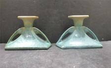 """Roseville Earlam Green and Tan Candleholders - 1064-3"""" - MINT"""