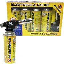 BLOW TORCH BUTANE GAS KIT FLAMETHROWER WELDING AUTO IGNITION 4 BOTTLES SOLDERING