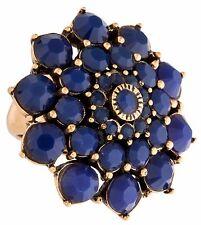 Oscar de la Renta Ring Blue Gold Tone Crystal Flower Sz 6 Statement Cocktail NEW