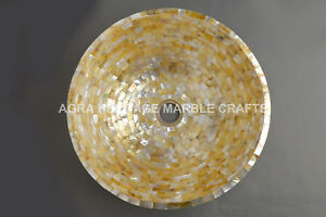 """15"""" Marble Exclusive Wash Basin Golden Mother of Pearl Inlay Hallway Decor E298"""