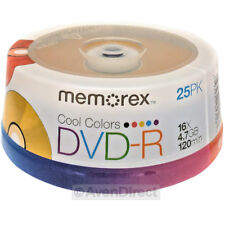 50 (25x2) Memorex 16X Cool Color Blank 4.7GB DVD-R 120Min [USPS Priority Mail]