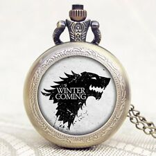 Game of Thrones House Stark Winter Is Coming Winterfell Pocket Watch Xmas Gift