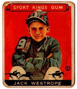 1933 SPORT KINGS #39 JACK WESTROPE JOCKEY GOUDEY CHEWING GUM CARD BOSTON
