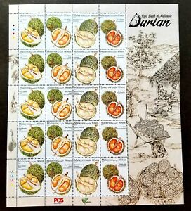 Malaysia King Of Fruits Durian 2021 Food Plant Agriculture Tree (sheetlet) MNH
