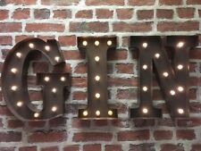 LED LIGHT CARNIVAL CIRCUS  RUST  METAL WORD- GIN - WALL OR FREE STANDING 13INCH