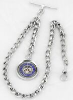 Antique 1904 English Sterling Silver Pocket Fob Watch Chain Matching Fob