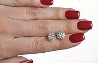 REAL 14K WHITE GOLD 2.20 CARAT DIAMOND ROUND CUT STUD POST SCREW BACK EARRINGS