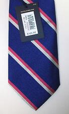 Polo Ralph Lauren Striped Silk Necktie Tie Made In Italy $125 Blue Pink Navy NWT